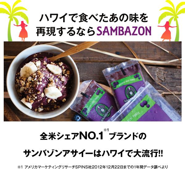 ハワイで食べたアサイーを再現するサンバゾンのアサイー・アサイーパルプ・アサイーピューレ・アサイージュース・アサイーボウル用商品・その他アサイー